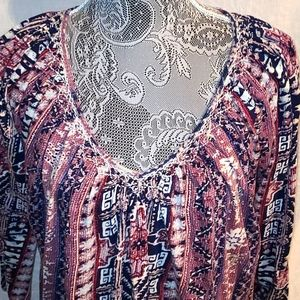 Lucky Brand loose fit boho blouse.